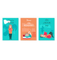 Card set with young woman reading book