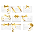 Card with Gold Ribbon and Bow Set vector image vector image