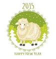 Card with green snowflake and little cute sheep vector image vector image