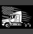 cartoon semi truck in black background vector image