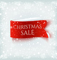 christmas sale red realistic paper banner on vector image vector image