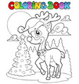 coloring book christmas deer 1 vector image