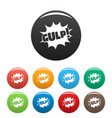 comic boom gulp icons set color vector image vector image