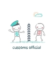 customs official says the man vector image vector image