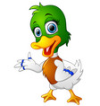 cute baby duck presenting vector image vector image