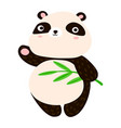 cute panda cartoon sweet panda waving his paw vector image vector image