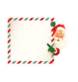 cute santa claus peeking on right side letter vector image vector image