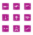 departure icons set grunge style vector image vector image