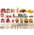 different design of barns and fences vector image