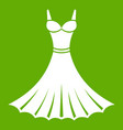 Dress icon green vector image