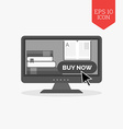 E-book buying concept icon Flat design gray color vector image vector image