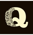 Elegant capital letter Q in the style Baroque vector image vector image