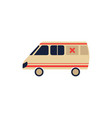 flat cartoon emergency ambulance car vector image vector image