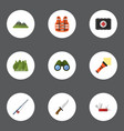 flat icons wood fishing hill and other vector image vector image