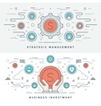 Flat line Business Investment and Management vector image vector image
