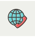 Global internet shopping thin line icon vector image