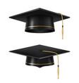 graduate black academic cap set realistic style vector image