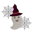 halloween ghost with hat witch isolated icon vector image vector image