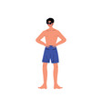 handsome young man in shorts and sunglasses vector image vector image