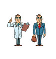 happy doctor with glasses and a businessman vector image vector image
