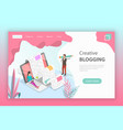isometric flat landing page for creative vector image