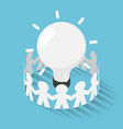 isometric paper people surrounded lightbulb idea vector image