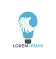 light bulb and lion logo design vector image vector image