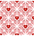 Ornate Seamless Pattern with Ruby Hearts vector image vector image