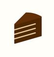 piece chocolate cake icon vector image vector image