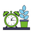 potted plant and clock alarm on shelf vector image