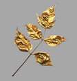 realistic trendy gold painted leaves for vector image