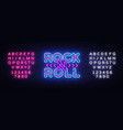rock and roll logo in neon style rock music neon vector image