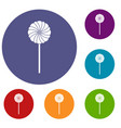 round candy icons set vector image vector image