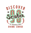 Scuba diving emblem in retro style vector image vector image