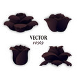 set of four paper black roses vector image