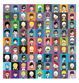 set people icons in flat style with faces 13 b vector image vector image