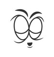 simple sad cartoon face in black and white colors vector image vector image