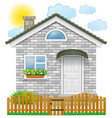 small country house with a wooden fence vector image