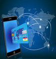smart phone with credit card on global map vector image vector image