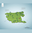 stylized map montenegro isometric 3d green map vector image