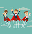 super business team in red capes flying upwards to vector image vector image