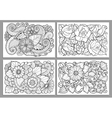 Template for vintage card hand drawn flowers vector image