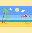 tropical island with seashore hot sand blue water vector image