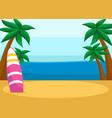 tropical sandy beach with surfboard seascape
