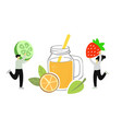 two people pick fruits and berries for juice or vector image vector image