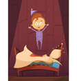 Unruly Kid In Pajamas Jumping On Unmade Bed vector image vector image