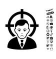 Victim Businessman Icon With Copter Tools Bonus vector image