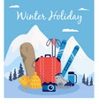 winter holiday poster - extreme sport equipment on vector image vector image