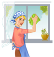 Woman washes window eps10 vector image