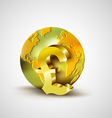 World economic concept with gold world and Pound vector image vector image